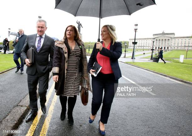 Sinn Fein politician Conor Murphy, , Sinn Fein leader Mary Lou McDonald and Sinn Fein northern leader Michelle O'Neill arrive for a new round of...