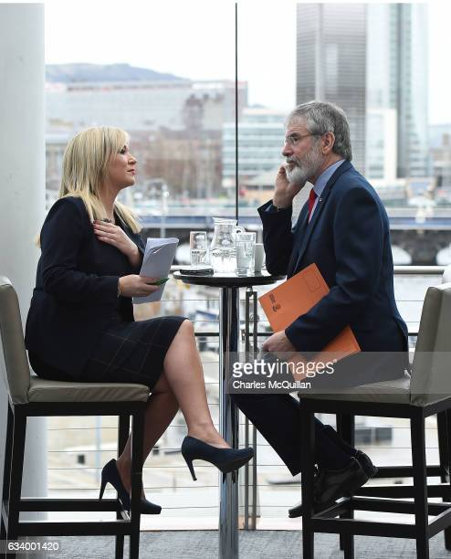 Sinn Fein President Gerry Adams and Sinn Fein northern leader Michelle O'Neill are seen in discussion before their election candidate launch press...