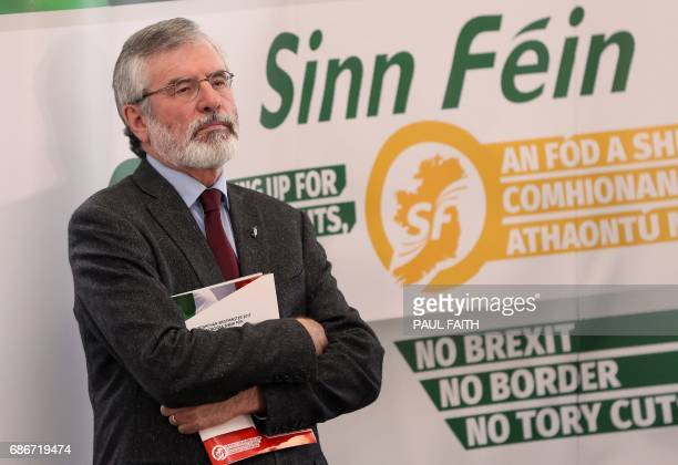 Sinn Fein President Gerry Adams attends the launch of the party's general election manifesto in Dungannon Northern Ireland on May 22 2017 The United...