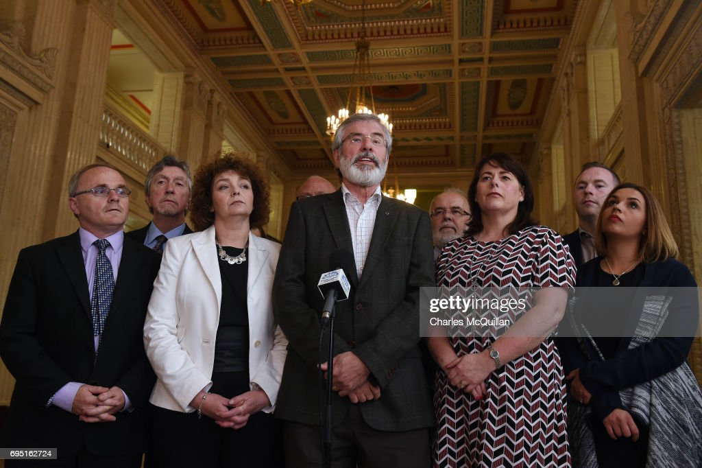 Sinn Fein president Gerry Adams holds a press conference alongside party members at Stormont as the Stormont assembly power sharing negotiations reconvene after the general election on June 12, 2017 in Belfast, Northern Ireland. Discussions between the DUP and the Conservative party are also continuing in the wake of the UK general election as Prime Minister Theresa May looks to form a government with the help of the Democratic Unionist Party'sten Westminster seats. Stormont and the political situation in Northern Ireland has been in limbo following the collapse of the power sharing executive due to the Renewable Heat Incentive scheme scandal which implicated mishandling by the DUP.