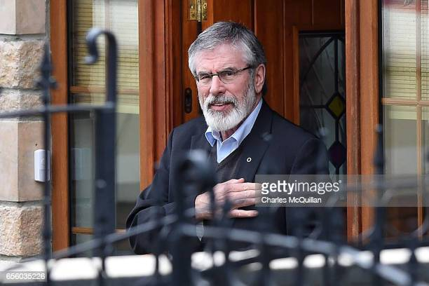 Sinn Fein President Gerry Adams leaves the home of former Sinn Fein leader Martin McGuinness after paying his respects to the McGuinness family on...