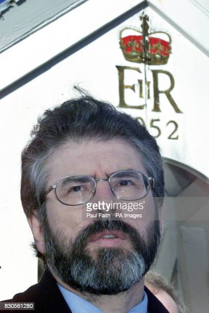 Sinn Fein President Gerry Adams speaking beside a sentry box outside Hillsborough Castle County Down before his meeting with the British Prime...
