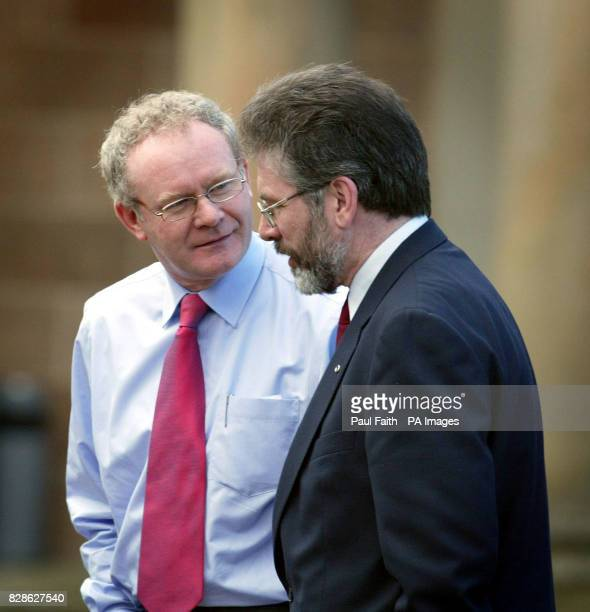 Sinn Fein president Gerry Adams with his Chief Negotiator Martin McGuinness talking outside Hillsborough Castle County Down where British Prime...