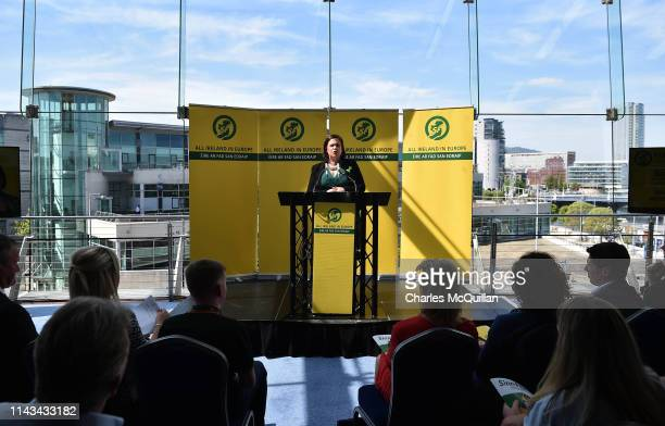 Sinn Fein President Mary Lou McDonald addresses party members and the gathered media as she attends the launch of the party's European Parliament...