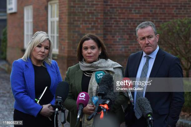Sinn Fein President Mary Lou McDonald addresses the media outside Stormont House alongside Michelle ONeill and Conor Murphy as cross party talks to...