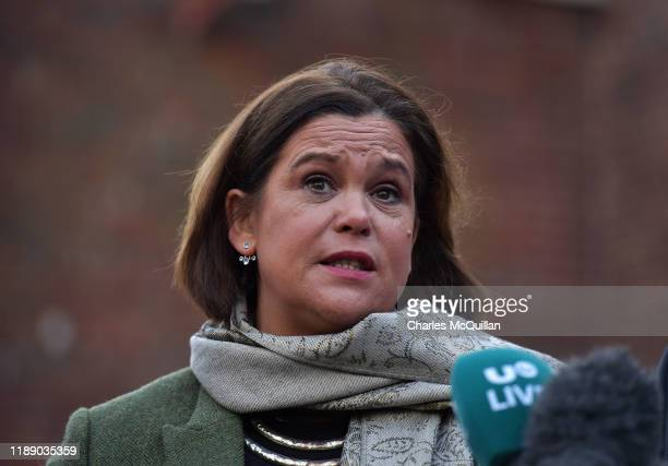 Sinn Fein President Mary Lou McDonald addresses the media outside Stormont House as cross party talks to restore the Northern Ireland power sharing...