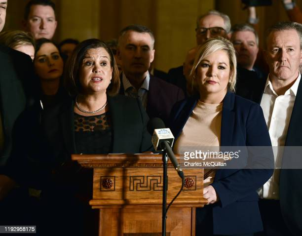 Sinn Fein president Mary Lou McDonald and vice president Michelle ONeill hold a press conference alongside other party members to announce their...