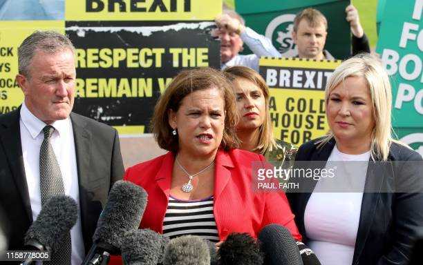 Sinn Fein President Mary Lou McDonald and vice President Michelle O'Neill speak to the media after meeting Britain's Prime Minister Boris Johnson...