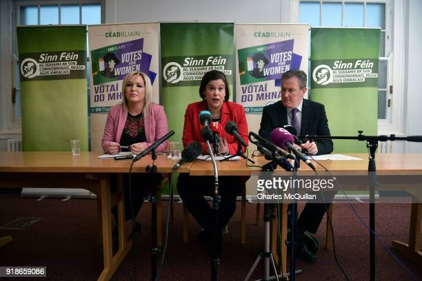 Sinn Fein President Mary Lou McDonald and Vice President Michelle O'Neill along with senior party member Conor Murphy give their response to the...