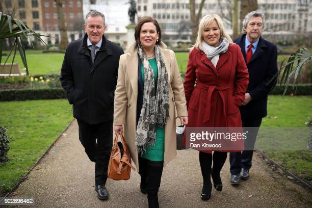 Sinn Fein President Mary Lou McDonald , and Vice President Michelle O'Neill arrive for a press conference hosted by the Foreign Press Association on...