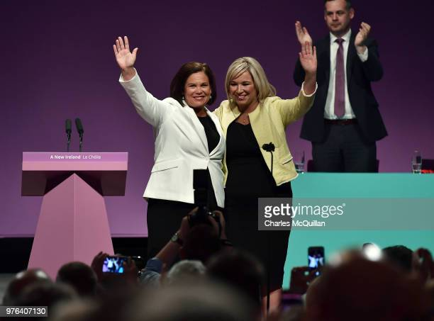Sinn Fein president Mary Lou McDonald and vice president Michelle O'Neill are applauded by party members after McDonald's keynote speech during the...
