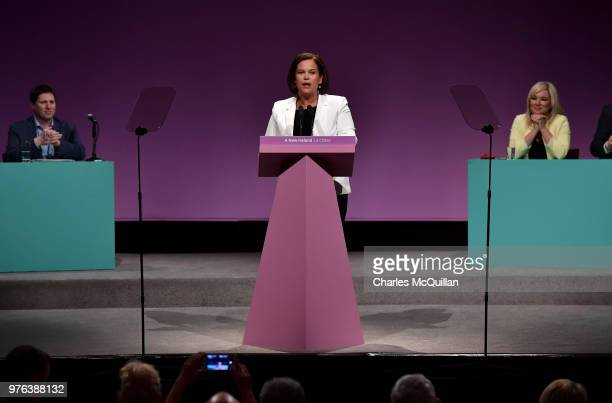 Sinn Fein President Mary Lou McDonald delivers her keynote speech during Sinn Fein's annual Ard Fheis at Waterfront Hall on June 16, 2018 in Belfast,...