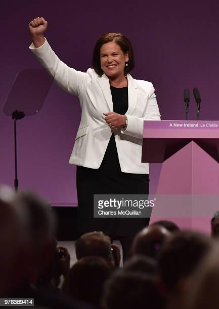 Sinn Fein President Mary Lou McDonald delivers her keynote speech during Sinn Fein's annual Ard Fheis at Waterfront Hall on June 16, 2018 in Belfast,...