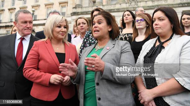 Sinn Fein President, Mary Lou McDonald, Deputy First Minister Michelle O???Neill with Conor Murphy , Minister of Finance and Deirdre Hargey Minister...