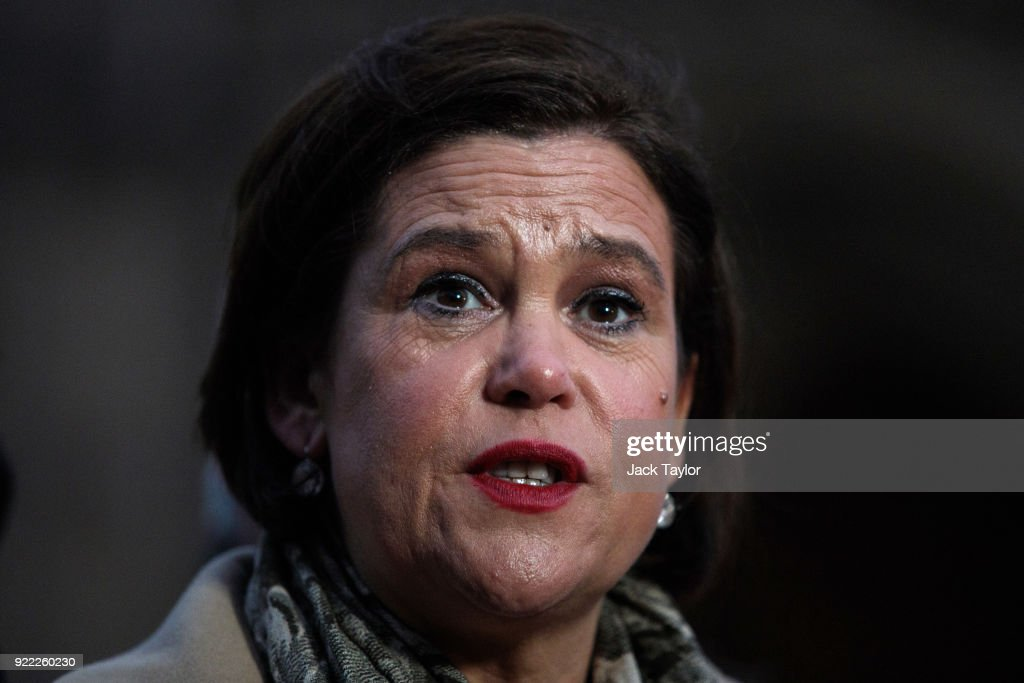 Sinn Fein President Mary Lou McDonald makes a statement on College Green in Westminster on February 21, 2018 in London, England. British Prime Minister Theresa may has met with leaders of the DUP and Sinn Fein in an effort to restore progress on power sharing in the country.