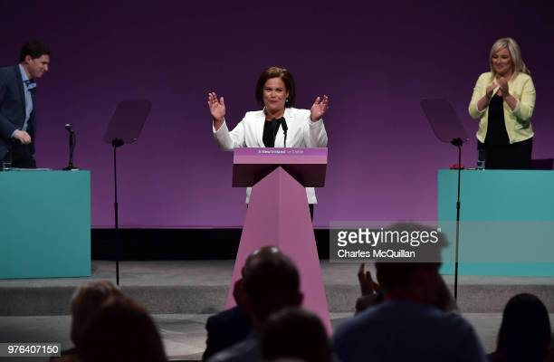 Sinn Fein president Mary Lou McDonald makes her keynote speech during the Sinn Fein Ard Fheis at Waterfront Hall on June 16, 2018 in Belfast,...