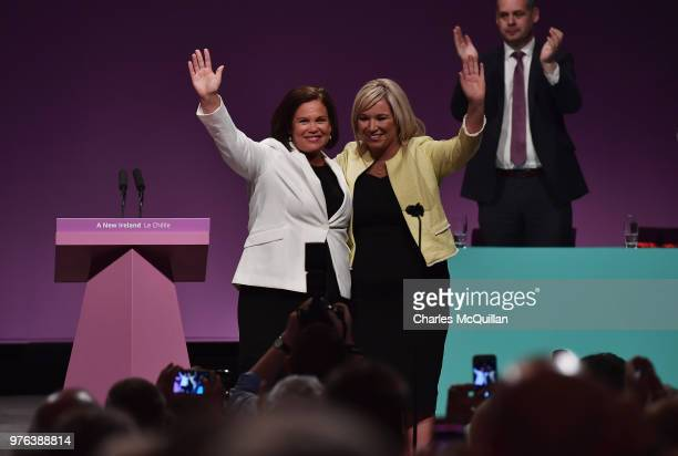 Sinn Fein President Mary Lou McDonald on stage with Sinn Fein Vice-President Michelle O'Neill after delivering her keynote speech during Sinn Fein's...