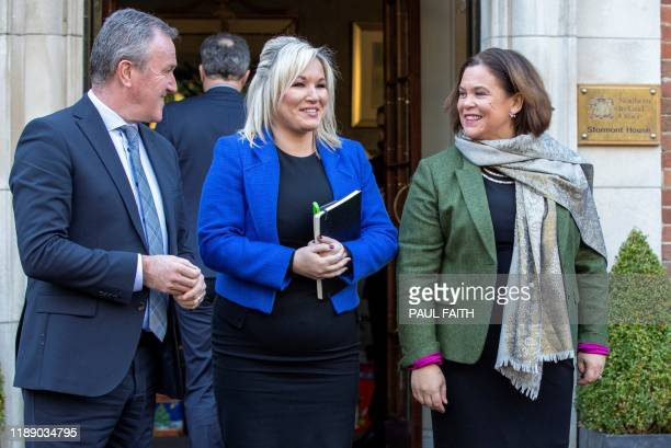 Sinn Fein President Mary Lou McDonald , Sinn Fein Northern Leader Michelle O'Neill , and Sinn Fein politician Conor Murphy emerge from Stormont House...