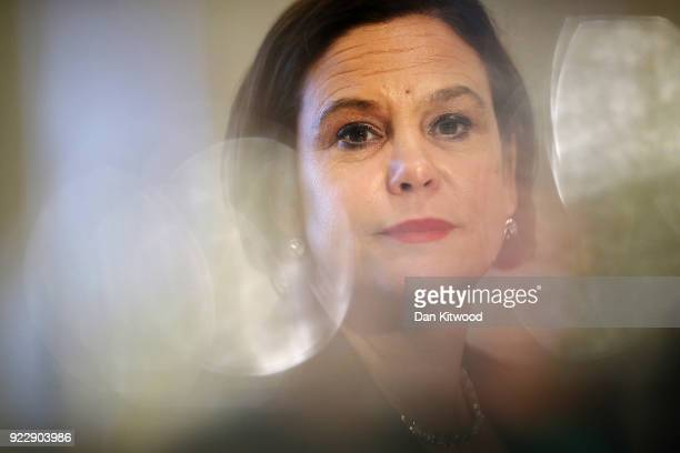 Sinn Fein President Mary Lou McDonald takes questions during a press conference hosted by the Foreign Press Association on February 22, 2018 in...
