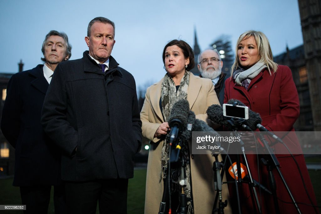 Sinn Fein President Mary Lou McDonald (C), Vice President Michelle O'Neill (R) and senior party member Conor Murphy (2nd L) make a statement on College Green in Westminster on February 21, 2018 in London, England. British Prime Minister Theresa May has met with leaders of the DUP and Sinn Fein in an effort to restore progress on power sharing in the country.