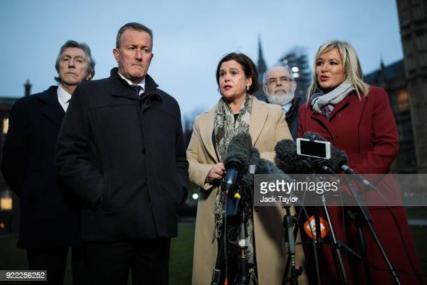 Sinn Fein President Mary Lou McDonald , Vice President Michelle O'Neill and senior party member Conor Murphy make a statement on College Green in...