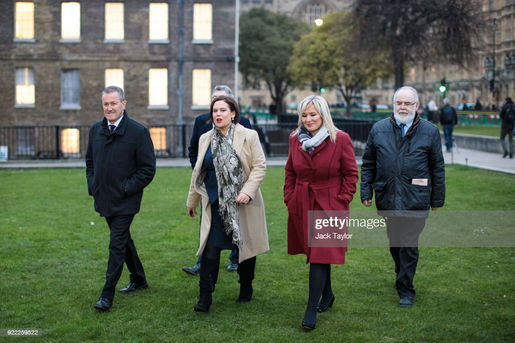 Sinn Fein President Mary Lou McDonald (C), Vice President Michelle O'Neill (2nR) and senior party member Conor Murphy (L) arrive to make a statement on College Green in Westminster on February 21, 2018 in London, England. British Prime Minister Theresa May has met with leaders of the DUP and Sinn Fein in an effort to restore progress on power sharing in the country.