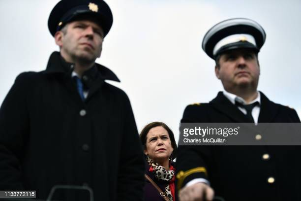 Sinn Fein President Mary Lou McDonald watches on as the Border Communities Against Brexit group hold a protest along the border between the Republic...