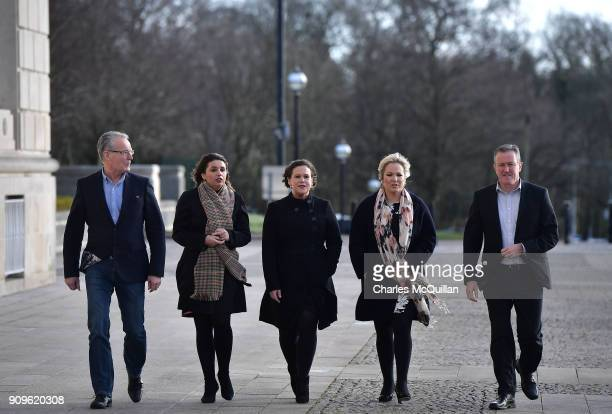 Sinn Fein presidentelect Mary Lou McDonald arrives with senior party members including Sinn Fein northern leader Michelle O'Neill at Stormont on...