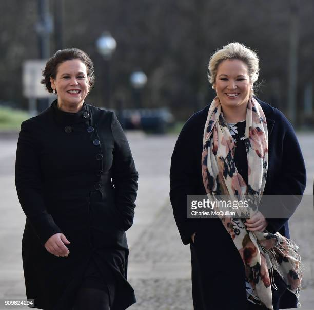 Sinn Fein president-elect Mary Lou McDonald arrives with Sinn Fein northern leader Michelle O'Neill at Stormont on January 24, 2018 in Belfast,...