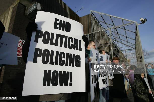 Sinn Fein protestors outside North Queen Street Station in north Belfast Saturday December 17 2005 The picket was called in reponse to revelations...