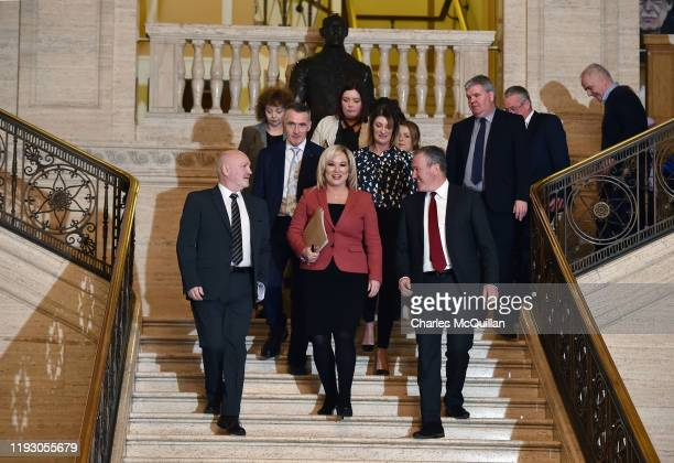 Sinn Fein vice president and northern leader Michelle O'Neill leads her fellow MLAs back into the debating chamber for the first time in three years...