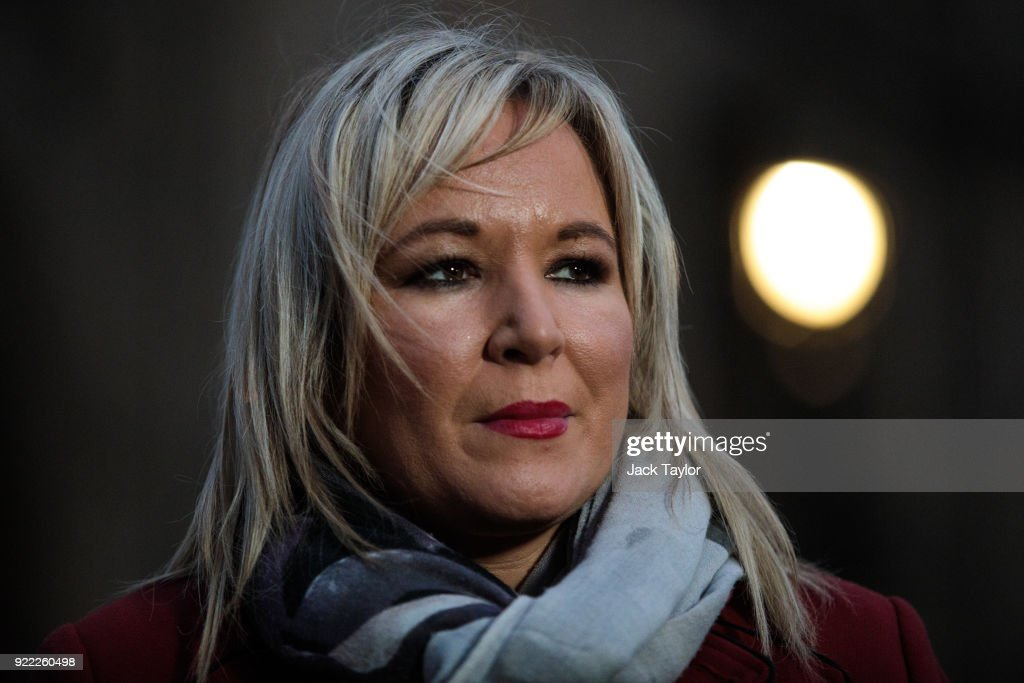 Sinn Fein Vice President Michelle O'Neill makes a statement on College Green in Westminster on February 21, 2018 in London, England. British Prime Minister Theresa may has met with leaders of the DUP and Sinn Fein in an effort to restore progress on power sharing in the country.