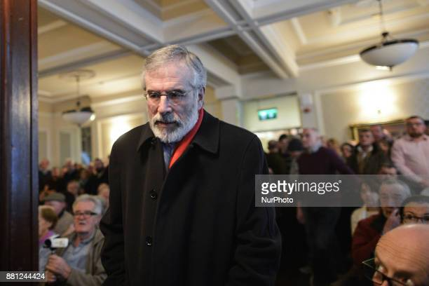 Sinn Fein's Gerry Adams arrives at the 'Toward A United Ireland' public meeting in Wynns Hotel in Dublin the same evening of the resignation of...