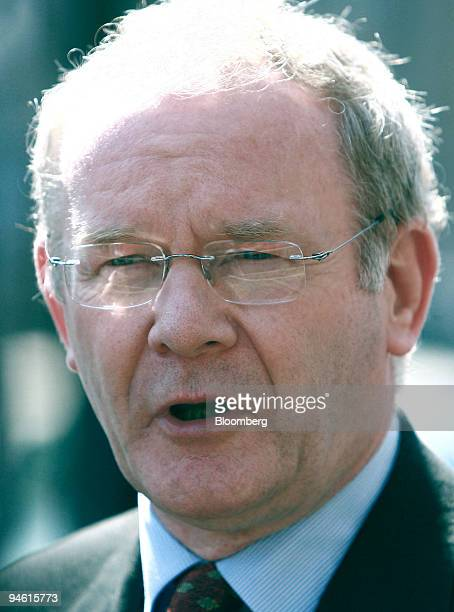 Sinn Fein's Martin McGuinness speaks to the media outside the Scottish Office after meetings with UK Chancellor of the Exchequer Gordon Brown and...