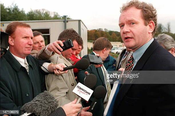 Sinn Fein's Martin McGuinness talks to reporters in Belfast 03 November as new talks with the government began at Stormont Talks are aimed at...