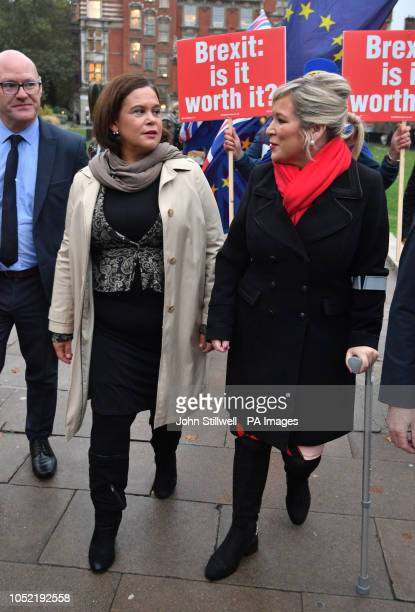 Sinn Fein's Michelle O'Neill and Mary Lou McDonald at College Green in Westminster, London, after meeting with Prime Minister Theresa May.