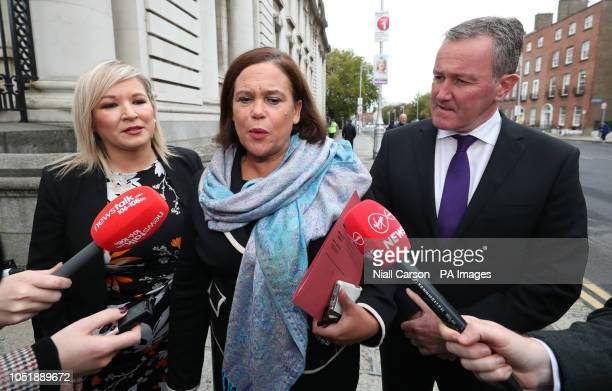 Sinn Fein's Michelle O'Neill, Mary Lou McDonald and Conor Murphy arrive for Brexit talks with Taoiseach Leo Varadkar at Government Buildings in...