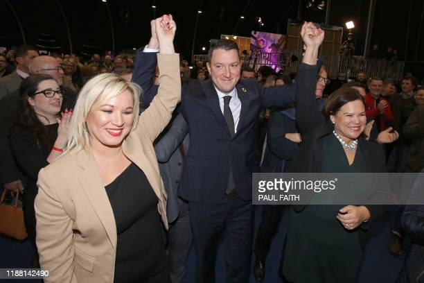 Sinn Fein's North Belfast candidate John Finucane celebrates with Mary Lou McDonald , Sinn Fein President and Northern Leader Michelle O'Neill at the...