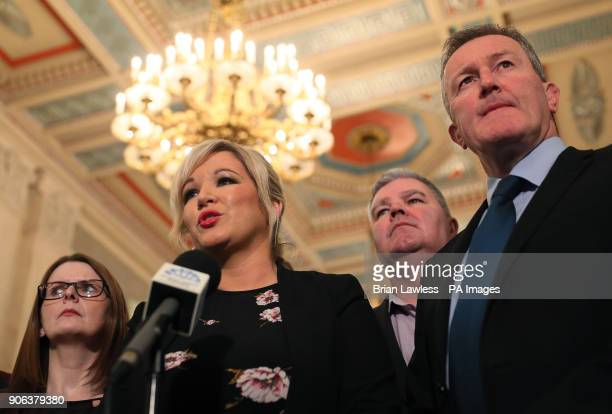 Sinn Fein's Northern Ireland Leader Michelle O'Neill speaking in the Great Hall in Stormont after Northern Ireland Secretary Karen Bradley and Irish...