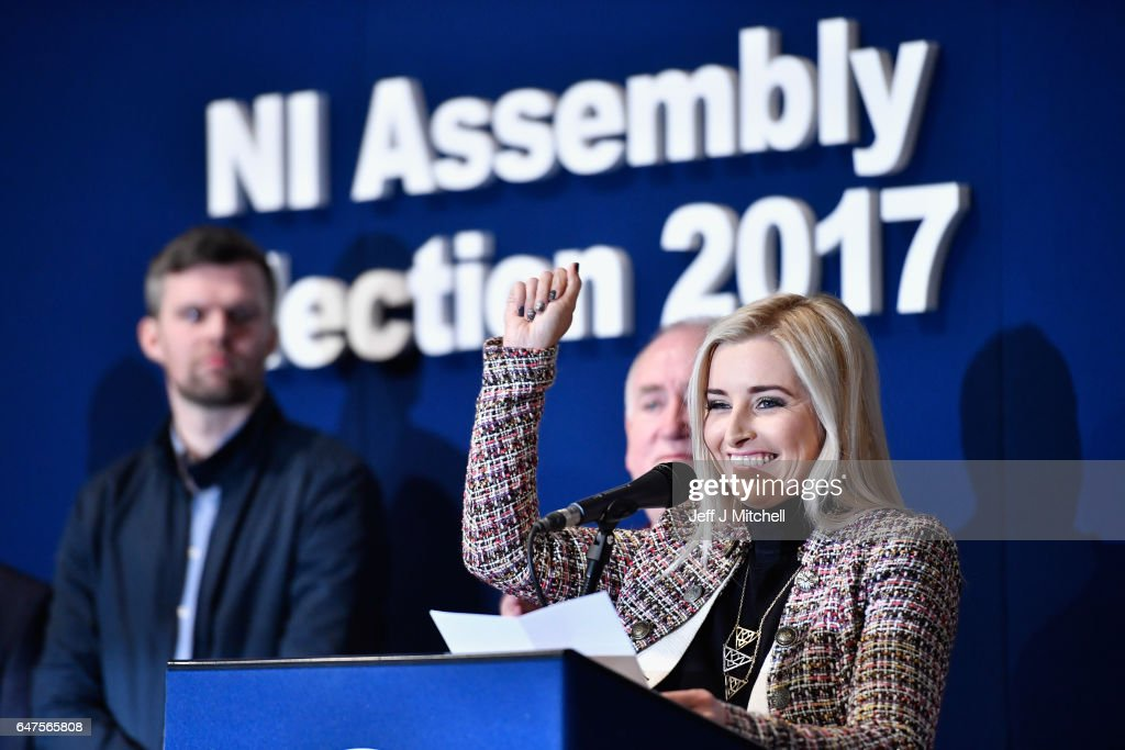 Sinn Fein's Orlaithi Flynn makes a statement after being elected in West Belfast at the count for the Northern Ireland assembly election on March 3, 2017 in Belfast, Northern Ireland. A snap election was called following the resignation of the Deputy First Minister Martin McGuiness, with indications showing that voter turnout yesterday was considerably higher than in May last year. Voters went to the polls yesterday for the second time in 10 months after the collapse of the power sharing executive government.