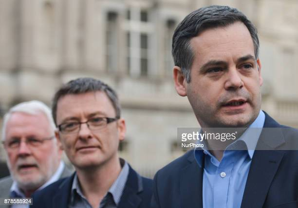Sinn Fein's Pearse Doherty accompanied by Martin Ferris and David Cullinane speaks to the media outside Leinster House in Dublin In Dublin Ireland on...