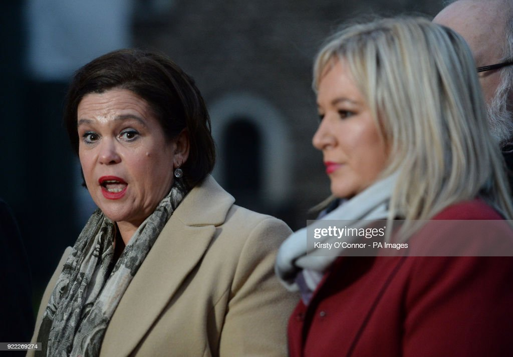 Sinn Fein's president Mary Lou McDonald (left) speaking to the media on College Green in Westminster, London.