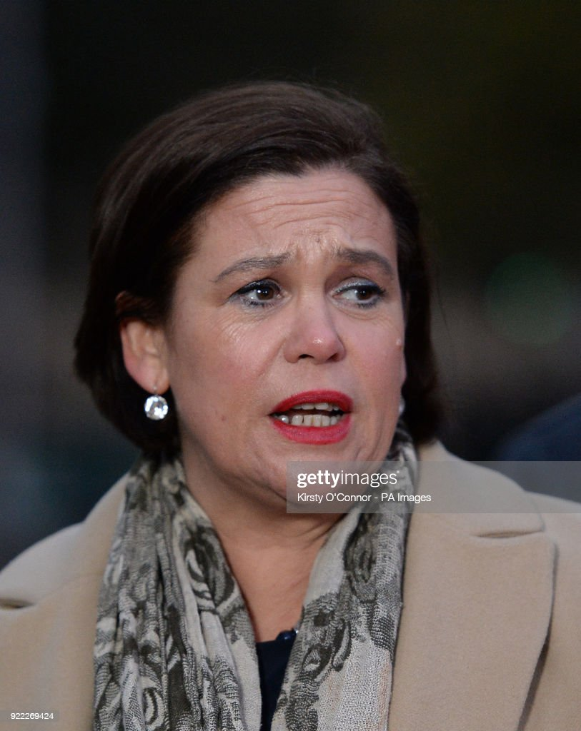 Sinn Fein's president Mary Lou McDonald speaking to the media on College Green in Westminster, London.
