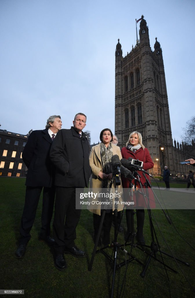 Sinn Fein's vice president Michelle O'Neill (right) and Sinn Fein's president Mary Lou McDonald (centre) and Conor Murphy (2nd left) speaking to the media on College Green in Westminster, London.
