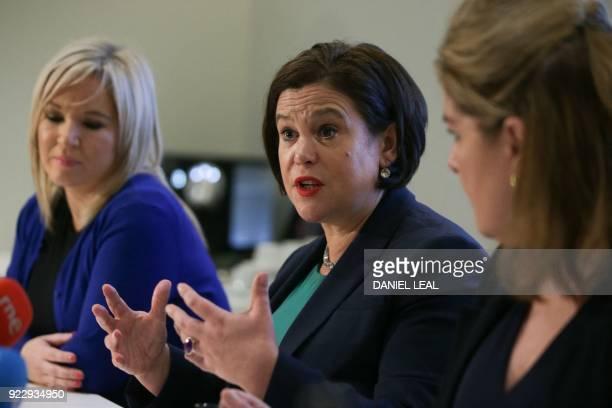 Sinn Féin President Mary Lou McDonald addresses a press conference as Sinn Féin Vice-President Michelle O'Neill looks on, in central London, on...