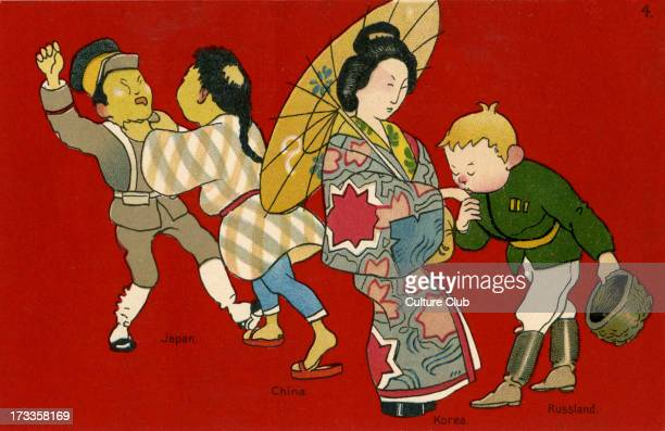 Sino Japanese War and the Russian occupation of Korea depicted here in an allegorical scene