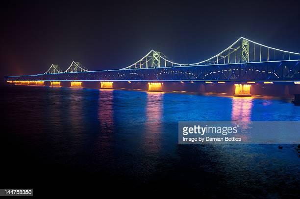 sino korean friendship bridge - yalu river stock pictures, royalty-free photos & images