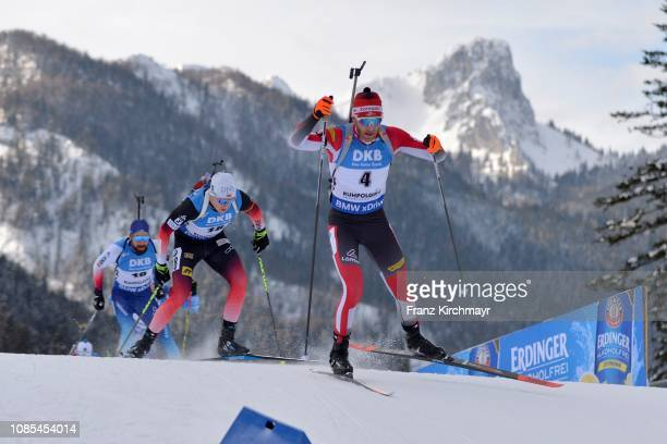 Sinon Eder of Austria competes for the men's 15 km mass start during the IBU World Cup Biathlon at Chiemgau Arena on January 20, 2019 in Ruhpolding,...