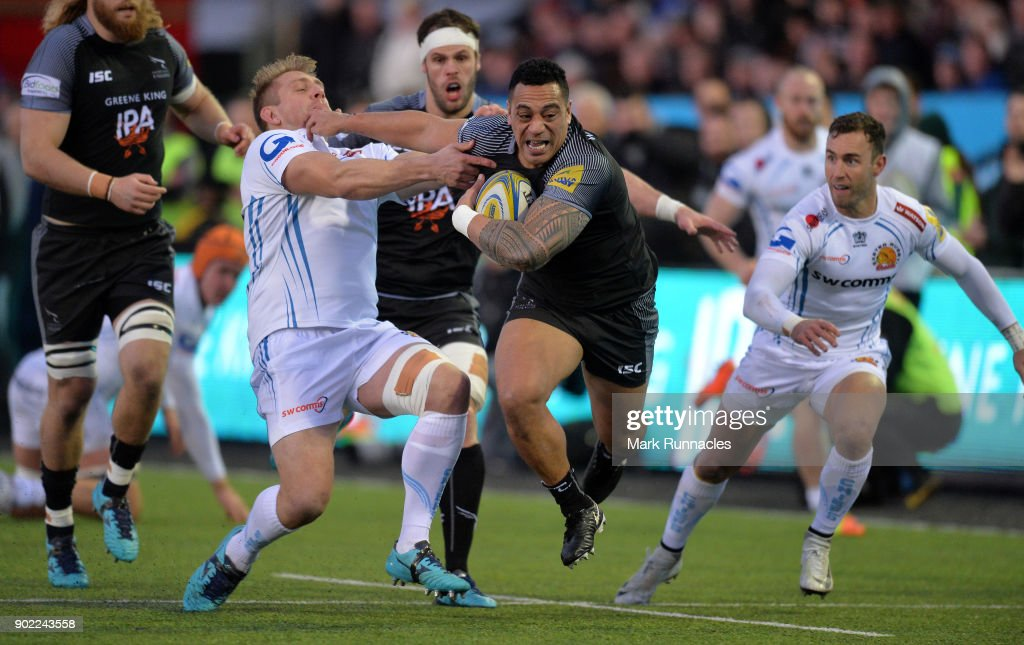 Sinoti Sinoti of Newcastle Falcons is tackled by Carl Rimmer of Exeter Chiefs during the Aviva Premiership match between Newcastle Falcons and Exeter Chiefs at Kingston Park on January 7, 2018 in Newcastle upon Tyne, England.