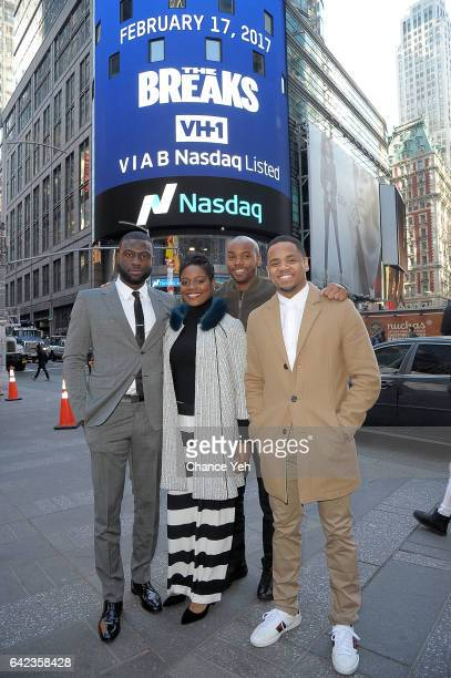 Sinqua Walls Afton Williamson Antoine Harris and Mack Wilds of Vh1's 'The Breaks' attends the Nasdaq opening bell at NASDAQ on February 17 2017 in...